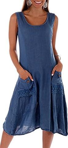 Damen Leinen Kleid ärmellos mit schönen Details (XL = 40, Jeans Blau) (Jeans Kleid)