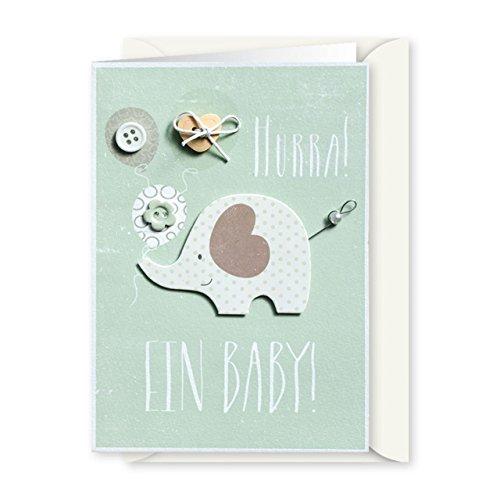 Knopfkarte 33 - Hurra! Ein Baby! - Babykarte
