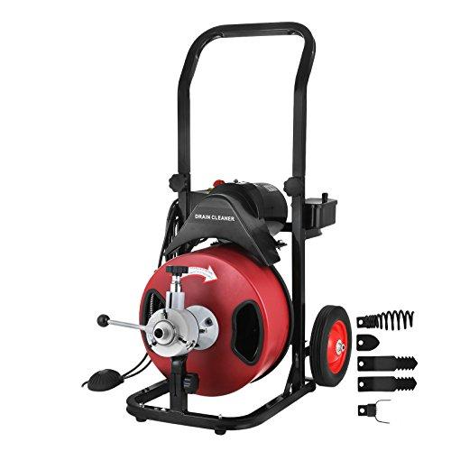 BananaB Rohrreinigungsmaschine Sectional Pipe Drain Cleaning Machine 50FT/15M Lange 1.27CM Breit Rohr-Reiniger Reinigung Werkzeug Drain Schlange Sewer Badewanne Waschbecken Snak(50FT) -
