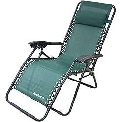 Todeco - Chaise Longue Inclinable, Transat en Textilène de Jardin - Charge maximale: 100 kg - Matériau: Textilène - 165 x 112 x 65 cm, Vert, Textilène
