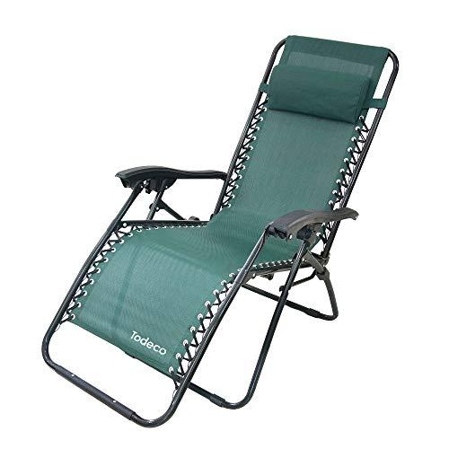 Todeco - sedia pieghevole a gravità zero, sdraio per giardino - carico massimo: 100 kg - materiale: textilene - 165 x 112 x 65 cm, verde, textilene, con cuscino