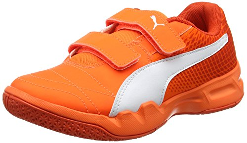 Puma veloz ng v jr, scarpe sportive indoor unisex-bambini, arancione (shocking orange-white-cherry tomato), 33 eu
