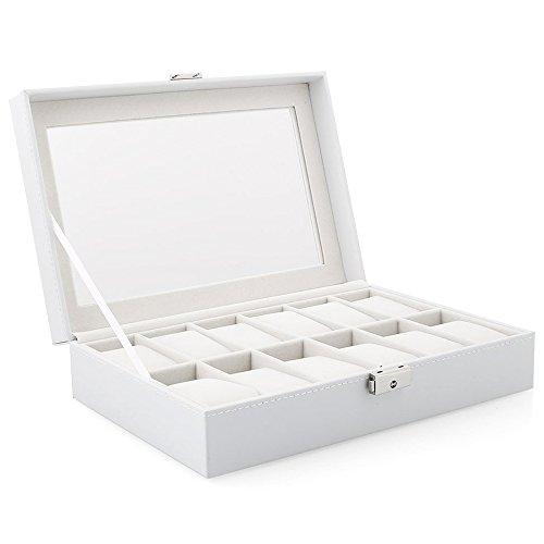 TQ Uhr Display Aufbewahrungsbox Fall Weiß 12 Raster für Multifunktionsarmband Uhren Display Schatulle Uhren Halter Schatulle (Sie Uhren Zu Wie Sammeln,)