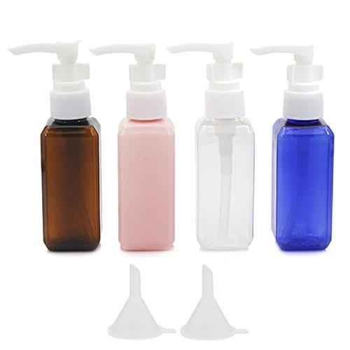 8 PCs 50ml assortiment couleurs en plastique air vol pompe bouteilles distributeur lotion douche gel Shampooing récipient avec 2 petits entonnoir pour Flight Airport Holiday
