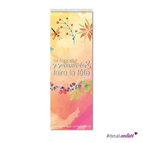 Preisvergleich Produktbild detailverliebt. Calendrier Calendrier d'anniversaire à spirales,  kal_015 – aux couleurs vives pour inscrire de jours d'anniversaire – Birthday,  anniversaire / avec étoile caractères (Français)