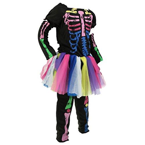 MagiDeal Mädchen Skelett Knochen Kinderkostüm komplettes Kostüm für Halloween Fasching Karneval - Mehrfarbig, M