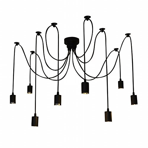 Lixada E27 Douille Rétro abat-jour Suspensions Vintage ajustable base de lampe Douille Lustre plafond Lampe Dining Hall Hôtel, chacune avec 1.7m fil, 8 bras (pas d'ampoules)