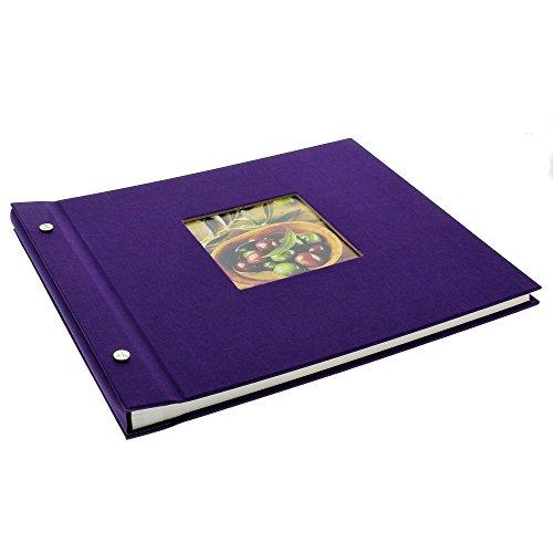 Goldbuch Schraubalbum mit Fensterausschnitt, Bella Vista, 30 x 25 cm, 40 weiße Seiten mit Pergamin-Trennblättern, Erweiterbar, Leinen, Lila, 26894 (Lila Leinen)