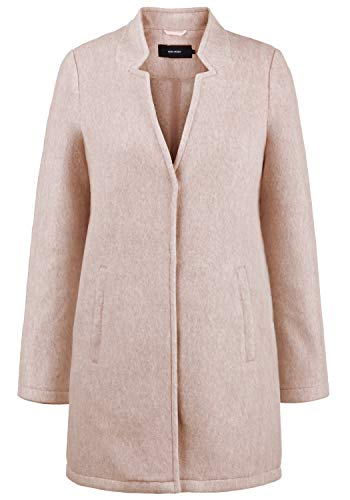VERO MODA Mania Damen Winter Jacke Wollmantel Winterjacke Mantel Mit Reverskragen, Größe:M, Farbe:Café Au Lait