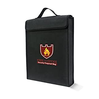 Fireproof Safe Bag for Documents,AmaMary 1 Pcs Fireproof Waterproof Pouch Bag for Document Cash Money Passport Bank Office File and Valuables (38cm*28cm*6cm)