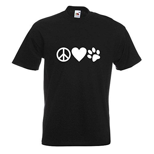 KIWISTAR - Peace Love Animals T-Shirt in 15 verschiedenen Farben - Herren Funshirt bedruckt Design Sprüche Spruch Motive Oberteil Baumwolle Print Größe S M L XL XXL Schwarz