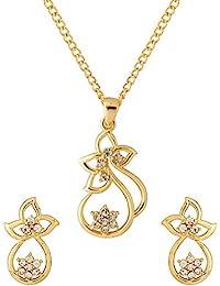 Voylla Classic Gold Plated White Pendant Set Gift Gift For Girl & Women