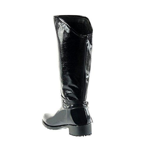 Angkorly - Scarpe Da Donna Stivali - Stivali Da Equitazione - Kavalier - Biker - Wellies - Pelle Di Serpente - Gioielli - Tacco Alto Con Frange Tacco 3,5 Cm Nero