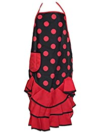 La Senorita Delantal Flamenco España - Delantal para mujer/mujeres - negro rojo