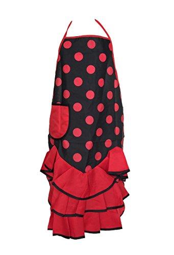 La Senorita Spanische Flamenco Schürze für Damen/Frauen - Schwarz-Rot