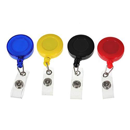 Farbe sortiert 4Stk Clip on Retractable Schlüsselanhänger Geschenk Badge ID Karte Klipp Halter Runde Badge Reels schwarz, blau, rot, gelb ArtSupplies