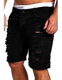 123df86ab8c77 Targogo Pantalon Jeans Décontracté pour Hommes Jeansshort Rétro Détruit Slim  Fit Été Mode Trous Rippés Denim