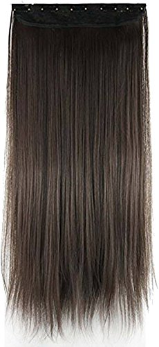 FOK 5 Clip Based Synthetic Hair Extension, 24 Inches (Brown)