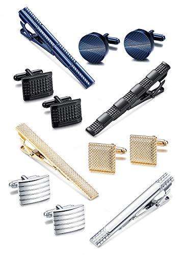 Milacolato Krawattenklammer und Manschettenknopf Sets für Männer Silber Personalisierte Krawatte Krawattenklammer Manschettenknöpfe Hemd Business mit Geschenkbox