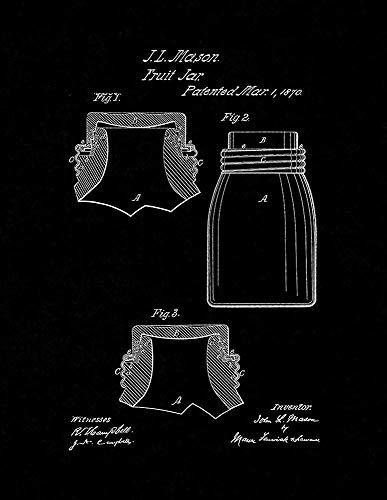 IMANI EDWARDS Mason Fruit Jar Patent Print Black Matte (8.5