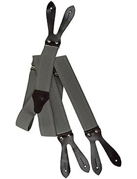 Tirantes 'Y-Forma' Para Botones (35mm) con Cuero Natural Marron Oscuro, Totalmente Ajustable