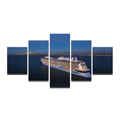 Wieoc Leinwand Malerei Wohnkultur Für Zimmer Leinwand Kunst 5 Panel Luxus Kreuzfahrt Dampfschiff Seascape Gedruckt Auf Leinwand Wandbilder-40X60Cmx2 40X80Cmx2 40X100Cmx1 - Neue Leinwand Kunst