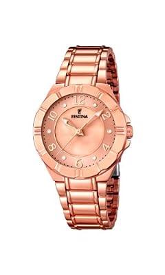 Festina F16728/1 - Reloj de cuarzo para mujer, con correa de acero inoxidable, color dorado de Festina