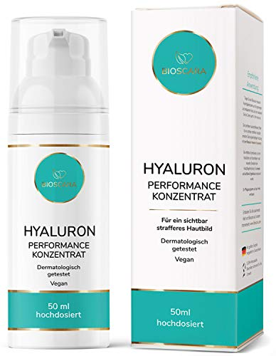 NEU: Hyaluron Serum extra hochdosiert 50ml vegan - Anti Falten Effekt Hyaloronsäure Serum und Hyaluron Gel - Anti-Aging Creme für ein sichtbar strafferes Hautbild hergestellt in Deutschland