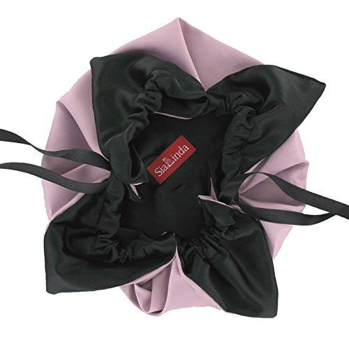 SiaLinda: Pompadour Tasche, verschiedene Farben außen / schwarz innen, Satin. Beuteltasche Damen Zugbeutel. Inkl. Geschenkverpackung. Made in Germany. Altrose
