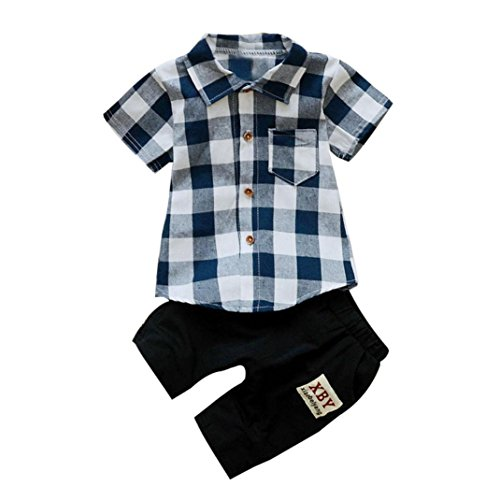Bekeleideung Set Sommer Kleidung T-Shirt Tops Hosen Outfits Kleidung Set Neugeborenen Sommer Boy Kinder Plaid T Shirt Tops + Shorts Hosen Outfits Set LMMVP (12 Monate-3Jahr) (Blau, 90CM (18Monate)) (Ziel-sommer-kleidung)