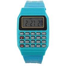 Tongshi Unsex silicona Multiuso Fecha Hora de Pulsera Electrónica Calculadora Reloj(azul)