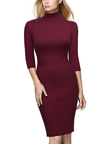 Miusol Damen 3/4 Aermel Wollkleid hoher Kragen Figurbetontes Strickkleid Pullover Kleid Weinrot Gr.46/48/L - 2