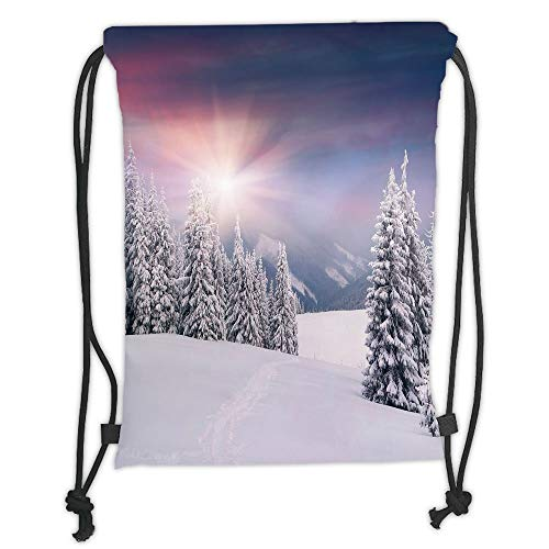 GONIESA Drawstring Sack Backpacks Bags,Winter,Idyllic Image of Snow Season Outdoors Frozen Highlands Sunset in Cold Weather Print, Soft Satin,5 Liter Capacity,Adjustable String Closure,The STYL