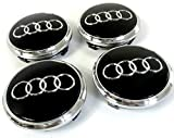 BBSS Lot de 4 Capuchons de moyeu de Roue en Alliage pour Audi 77 mm Noir et Logo chromé Q5 Q7 A8 Part NR: 4L0 601 170