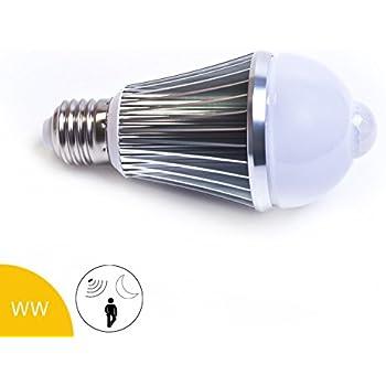 Bombilla LED (7 W, E27, y sensor de movimiento crepuscular, Blanco cálido
