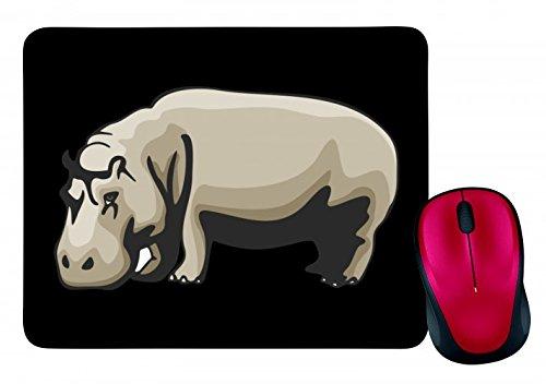 "Mauspad ""Nilpferd Wildnis Wildtier Tier Madagaskar"" in Schwarz | Mousepad - Mausmatte - Computer Pad - Mauspad mit Motiv"