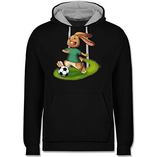 Fußball - Fußball Hase - Kontrast Hoodie Schwarz/Grau Meliert