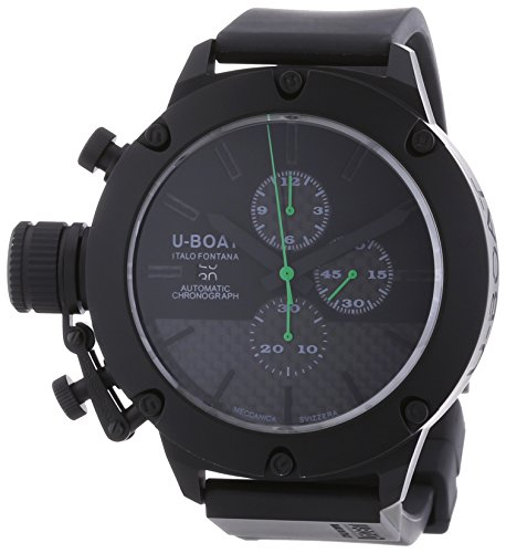U Boat Classico 53 Stop and Go Men's Automatic Watch with Black Dial Chronograph Display and Black Rubber Strap 6548.0