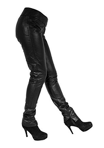 Anni Damen Lederhose aus echtem Lamm Nappa Leder Schwarz