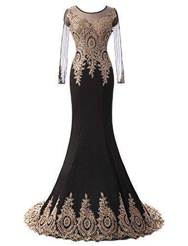 rmel Formal Mutter der Braut Kleid Applikationen Schwarz DE36 (Braut Und Kleid)