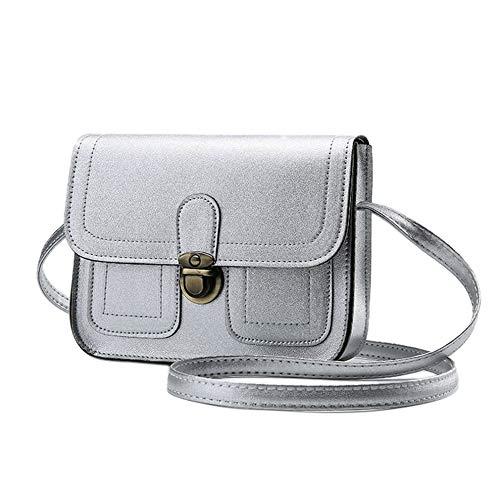 Preisvergleich Produktbild Mouchao Weinlese-weiche PU-Leder-Frauen-Damen-einzelne Schultertasche Umhängetasche Silber