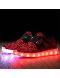 aemember Boys 'zapatos de primavera otoño Luz Up zapatos calzado deportivo comodidad suela de primera caminantes luz LED para Casual al aire libre rubor rosa azul, US12 / EU30 / UK11 Little Kids, Rojo