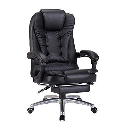 LH-Sonnenliege Chefsessel mit hoher Rückenlehne Höhenverstellbarer Ledersessel Chefbüro-PC Gaming Tilt Napping Desk Computer-Stühle (Farbe : Schwarz, größe : with Footrest) - Hohe Rückenlehne, Braunes Leder