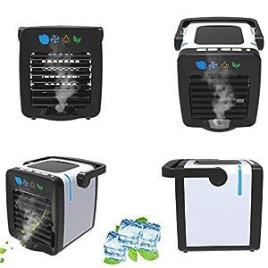 Dkings Luftkühler Mini-tragbarer Klimaanlagenventilator, 2 in 1 Neuer USB-Ladeklimaanlagenventilator Persönlicher Kühlschrank Luftkühler Nano-Ventilator Kleiner Verdunstungskühler Luftbefeuchter