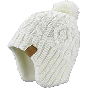 AHAHA Kids Winter Hat Earflap Beanie Hat Pompom Knitted Hats for ... a0d463ba1f42