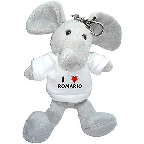 Elefante de peluche (llavero) con Amo Romario en la camiseta (nombre de pila/apellido/apodo)