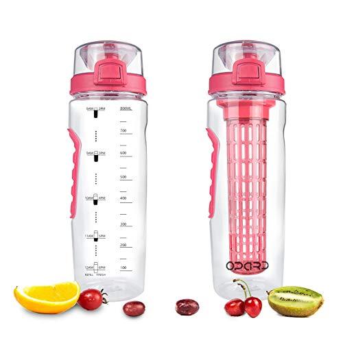 Opard Wasserflasche mit Frucht-Infuser, 30 oz auslaufsicher, Wasser-Diffusor, Flaschen, mit faltbarem Reise-Haken, rot