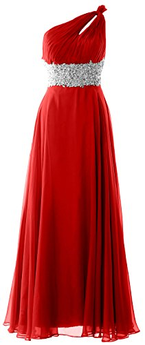 MACloth Women One Shoulder Chiffon Maxi Prom Dress Cut Out Back Formal Gown Rot