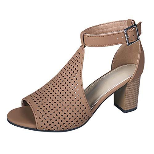 Damen Pumps Mary Janes mit Blockabsatz Plateau Vorne Hochzeit Abiball Flandell Moderne Cut Out Stilettos | Bequeme High Heels | Open Toe Sandalen Chunkyrayan