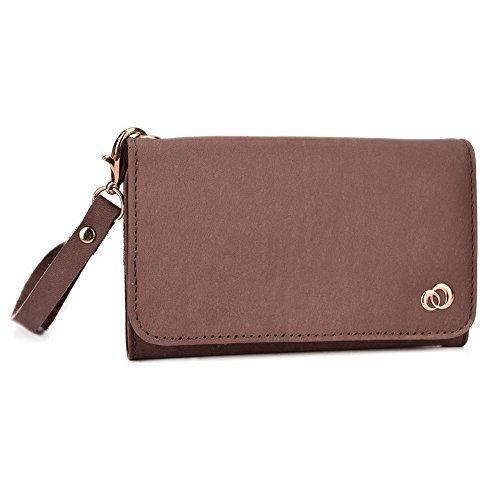 Kroo Pochette Housse Téléphone Portable en cuir véritable pour Archos 50C Oxygen/50b Platinum/40Césium Bronze - café Bronze - marron